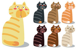 Insieme di Cat Characters sveglia sul vettore EPS10 Illustrazione Vettoriale