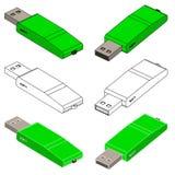 Insieme di chiavetta USB verde (3d) Fotografia Stock