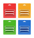 Insieme di ciano batterie AA alcaline dorate gialle blu di Red Green in ciano bolla giallo arancione blu di Red Green imballata Fotografie Stock