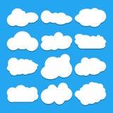 Insieme di cielo blu, nuvole Icona della nube Fotografia Stock Libera da Diritti