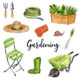 Insieme di clipart degli strumenti di giardinaggio, illustrazione disegnata a mano dell'acquerello illustrazione di stock