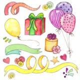 Insieme di clipart del partito di buon compleanno dell'acquerello royalty illustrazione gratis