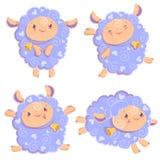 Insieme di clipart dell'illustrazione di vettore di restare di salto della ragazza delle pecore di funzionamento rosa divertente  illustrazione vettoriale