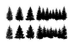 Insieme di clipart della siluetta del pino illustrazione di stock
