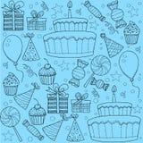 Insieme di clipart di schizzo della festa di compleanno Immagine Stock