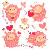 Insieme di clipart di giorno di S. Valentino dell'illustrazione di vettore delle pecore rosa divertenti sveglie della ragazza, cu illustrazione di stock