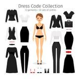 Insieme di codice di abbigliamento delle donne Fotografie Stock