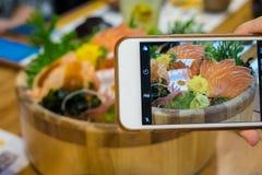 Insieme di color salmone del sashimi Fotografia Stock Libera da Diritti