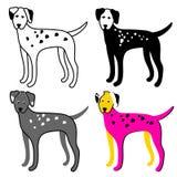 Insieme di colore dei cani su un fondo bianco dalmatian Vettore Immagine Stock Libera da Diritti