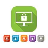 Insieme di colore dell'icona piana di sicurezza di web Fotografia Stock Libera da Diritti