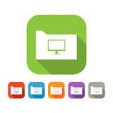 Insieme di colore della cartella piana con il computer Immagine Stock