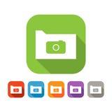 Insieme di colore della cartella piana con la macchina fotografica Fotografie Stock