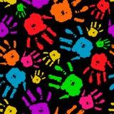 Insieme di colore delle mani sul vettore nero del fondo Fotografia Stock Libera da Diritti