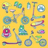 Insieme di colore delle merci di sport per i bambini Schizzo di vettore Fotografia Stock Libera da Diritti