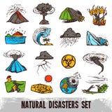 Insieme di colore di disastri naturali Fotografia Stock Libera da Diritti