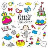 Insieme di colore divertente di piccola principessa Ragazze vestito, farfalla, specchio, Immagine Stock Libera da Diritti