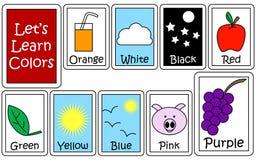 Insieme di colore Flashcards Immagini Stock Libere da Diritti
