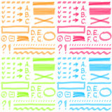 Insieme di colore quattro Elementi del disegno della mano per scelto Royalty Illustrazione gratis