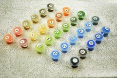 Insieme di colori della pittura di numero su una tela Fotografie Stock Libere da Diritti