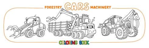 Insieme di coloritura divertente delle automobili del macchinario di silvicoltura illustrazione vettoriale