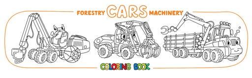 Insieme di coloritura divertente delle automobili del macchinario di silvicoltura illustrazione di stock