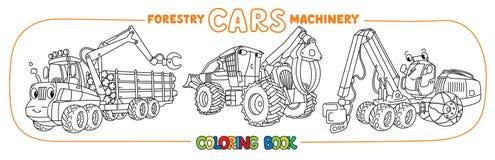 Insieme di coloritura divertente delle automobili del macchinario di silvicoltura royalty illustrazione gratis
