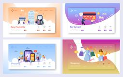 Insieme di compera online della pagina di atterraggio di transazione di pagamento Tecnologia di vendita del deposito di commercio illustrazione vettoriale