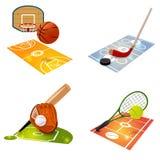Insieme di concetto dell'attrezzatura di sport Immagine Stock