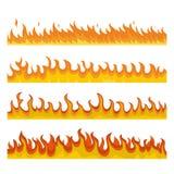 Insieme di concetto dell'insegna del fuoco di notte del falò, stile piano illustrazione di stock