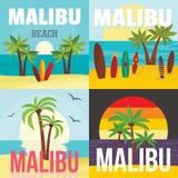 Insieme di concetto dell'insegna della spuma della spiaggia di Malibu, stile piano royalty illustrazione gratis