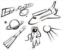 Insieme di concetto dello spazio dell'illustrazione di abbozzo Fotografia Stock Libera da Diritti