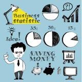 Insieme di concetto di schizzo di scarabocchio di affari Illustrazione disegnata a mano di vettore Immagine Stock