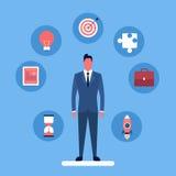 Insieme di concetto di strategia della raccolta dell'icona dell'uomo di affari illustrazione di stock