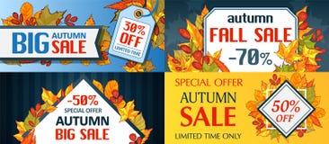 Insieme di concetto di stagione di caduta di vendita di autunno, stile del fumetto illustrazione vettoriale