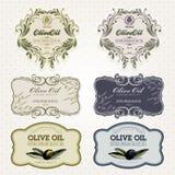 Insieme di contrassegni dell'olio di oliva Immagine Stock