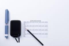 Insieme di controllo del diabete Fotografie Stock