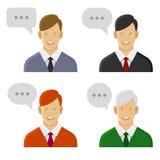 Insieme di conversazione dell'icona della gente Uomo con le bolle del testo Vettore Immagine Stock