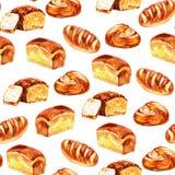 Insieme di cottura nello stile dell'acquerello Panini, baguette, pane royalty illustrazione gratis
