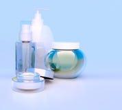 Insieme di crema cosmetica Quotidiano, cosmetico di cura di bellezza Crema di fronte, Fotografia Stock