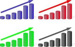 Insieme di crescita multicolore dei grafici Fotografia Stock Libera da Diritti