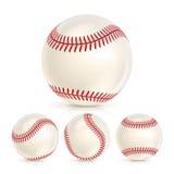 Insieme di cuoio del primo piano della palla di baseball isolato su bianco Palla bassa di softball Illustrazione realistica di ve illustrazione vettoriale