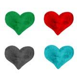 Insieme di cuore variopinto dipinto disegnato a mano, bello elemento per Immagine Stock