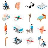 Insieme di cura dei disabili Fotografia Stock Libera da Diritti