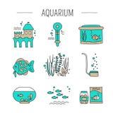 Insieme di cura dell'acquario illustrazione vettoriale