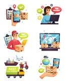 Insieme di Delivery Compositions Icons del corriere illustrazione di stock