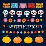Insieme di Dia de los Muertos, giorno messicano delle ghirlande morte con le luci, le bandiere della stamina, i crani ornamentali illustrazione di stock