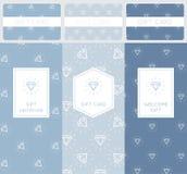 Insieme di Diamond Pattern Elements Marcando a caldo e progettazione di imballaggio per le carte ed i certificati di regalo Immagine Stock