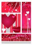 Insieme di disegno dei biglietti di S. Valentino Immagine Stock