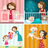Insieme di disegno del bambino e della madre Immagini Stock Libere da Diritti