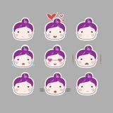 Insieme di disegno semplice sveglio di Plum Hair Baby Girl Emotions Immagine Stock